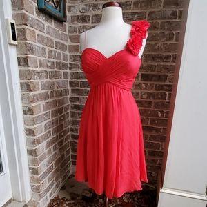 Beautiful Red Flowy Rickie Freeman Rosette Dress